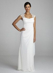 You will look breathtaking in the timeless and chic wedding dress!  Empire bodice features ultra-feminine lace cap sleeves and eye-catching open back detail.  Sheer matte jersey dress with side drape mesh skirt is accented with ruffles which adds dimension and creates a long and soft silhouette.  Fully lined. Back zip. Imported polyester. Dry clean only.  To protect your dress, try our Non Woven Garment Bag.