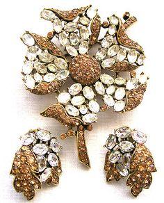 VTG Crown Trifari Pave' Brooch & Earrings