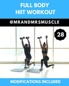 Full Body Workout HIIT with Dumbbells - Real Time - Diet, Exercise, Fitness, Finance You for Healthy articles ideas Full Body Hiit Workout, Hitt Workout, Gym Workout Videos, Dumbbell Workout, Gym Workouts, At Home Workouts, Muscle Workouts, Hiit Abs, Workout Fun