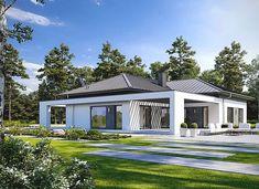 Klarowny D55 - zdjęcie 2 House Front, My House, Residential Architecture, Architecture Design, Single Storey House Plans, Steel Frame, Pergola, Exterior, House Design