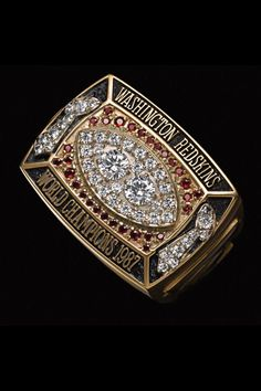 If It's Hip, It's Here (Archives): Super Serious Super Bowl Ring Bling Info. New Details, Pics and Facts About All The NFL Championship Rings. Arena Football, Redskins Football, Redskins Fans, Football Team, Nfl Championship Rings, Nfl Championships, Steelers Super Bowls, Super Bowl Rings, Best Engagement Rings