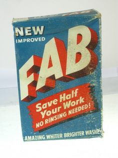 Old Antique Original Vintage Toilet Advert - Box Retro Soap Powder Fab Kitsch