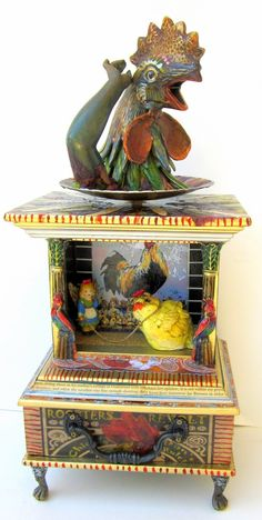 Rooster's are revolting over chicks trying to rule!!! For more of Lauretta Lowell's assemblage art, visit her website at www.whimsicalcuriosities.com
