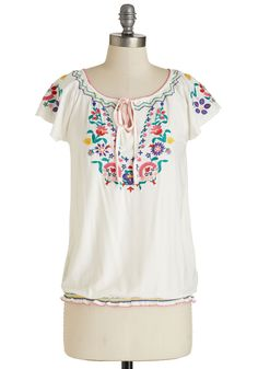 Market on your Calendar Top. Other plans will have to wait til another date, for youre off to the farmers market in this boho top! #white #modcloth