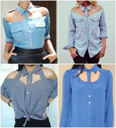 Give a new look to your old shirt and be chic wherever you wear it. You will need: - normal shirt; - scissors; - fabric glue; - needle and thread