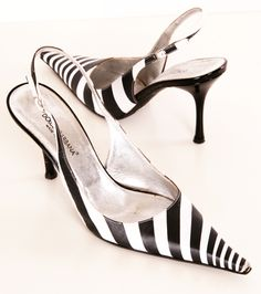 Dolce & Gabbana black and white pointed toe striped sling-backs