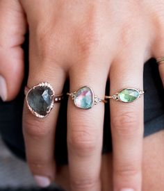 Blue & Pink Tourmaline with Side Diamonds - Audry Rose