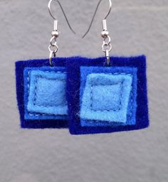 Blue Felt Square Earrings in Royal and Sky by JulieMarieSink, $7.00