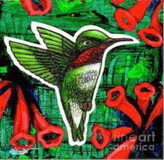 """Honeysuckle Hummingbird"" by Artist Genevieve Esson. Color pencil collage & acrylic on stretched canvas block. 4""w x 4""h x 2""l. $100.00. Painted on all 4 sides.This painting is part of my hummingbird series. It is a ruby-throated hummingbird which are very common in Missouri. Prints available at 45% OFF on Fine Art America thru 6/20. Key in KSSUES for code."