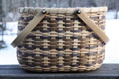 Contrasting Carrier Basket by BlueFrogBasketry on Etsy, $50.00