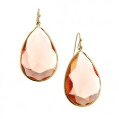 2028 Catalina Coral Peach Large Teardrop Bezel Set Earrings