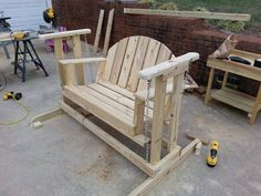How to make a porch swing glider frame. I used my great grandmothers' porch swing and it turned out beautifully well. I think I'm going to paint it a blue-jean/cobalt blue :)