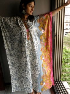 Silk and more - love this material, but would want in a robe. Gray Pink - Nursing Kaftan - Perfect as loungewear, as beachwear, gift for moms and to be moms and more