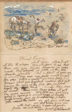 """Charles Marion Russell - """"Friend Carey"""" x 6 Mixed media on paper Illustrated, signed and dated Feb 25 1921 To Henry DeWitt """"Harry"""" Carey Accompanied by an illustration of reveling cowboys with a shovel: """"Friend Carey &a Matisse, Charles Marion Russell, Westerns, Travel Sketchbook, Western Landscape, West Art, Writing Art, Mountain Man, Old West"""