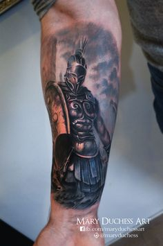 #tattoo #tattoos #worldfamousink #maryduchessart #tattooidea #realiatictattoo #forearmtattoo #warrior #sparta