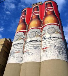 Budweiser Towers Manitowoc, WI...yes these are giant beer bottles painted on the side of a building (use to be the brewery) Only in wi :)