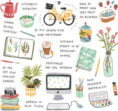 Illustrator Sanny van Loon, illustration, design, drawing, texture, simple, objects