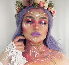 Virgo Makeup for Halloween Looking for Halloween makeup ideas that are more sweet than scary? Then you're in the right place. We have found 43 cute Halloween makeup ideas. Fairy Halloween Makeup, Amazing Halloween Makeup, Halloween Makeup Looks, Fairy Makeup, Fairy Fantasy Makeup, Fantasy Hair, Elf Makeup, Cute Makeup, Costume Makeup