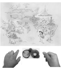 """Original hand drawn image of the world map along with extra elements that I would add later.  I made a """"green screen"""" out of a piece of poster board to take pictures of my hands."""