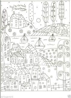 Alfombra De Enganche Craft patrón de papel por el agua arte popular primitivo de Karla G