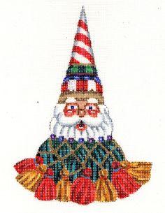 "SOLD OUT - Santa needlepoint Christmas ornament - Peppermint Tassel Santa. design: 6 1/2"" t  18 mesh  $26.00"