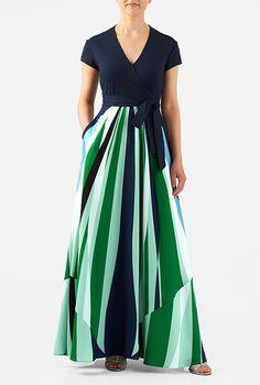 I <3 this Linear graphic print mixed media maxi dress from eShakti