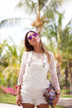 Song Of Style Is Wearing White Denim Overalls From Guess, Lace Top From Dolce Vita, Aviator Sunglasses From Beach Riot, Clutch Bag From Simone Camille Fashion Sale, Teen Fashion, Womens Fashion, Fashion Tips, Fashion Design, Fashion Trends, Style Fashion, Fashion Inspiration, Fashion Beauty