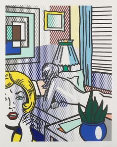 Roy Lichtenstein - Roommates, 1994 Relief print on Rives BFK mold-made paper 64 1/8 x 51 1/8, signed and dated in pencil