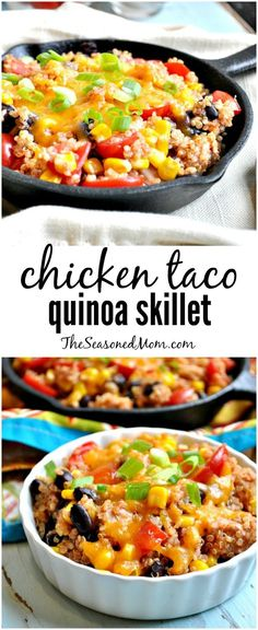 CHICKEN TACO QUINOA SKILLET is an easy, healthy, and family-friendly way to use up leftovers for dinner tonight! (Mexican Chicken Stovetop)