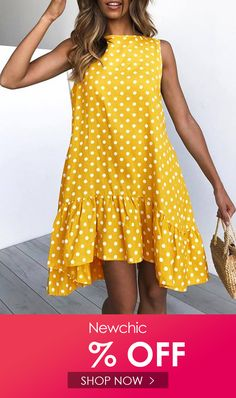 Print Polka Dots Sleeveless High Low Dress is high-quality, see other cheap summer dresses on NewChic. Stylish Summer Outfits, Cheap Summer Dresses, Beautiful Summer Dresses, Summer Dresses For Women, Dresses For Teens, Dress Summer, Preppy Dresses, Modest Dresses, Simple Dresses