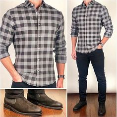 This is one of my favorites from the new fall fabrics❗️ This light flannel buffalo check is perfect for your fall/winter… Gq Mens Style, Men Style Tips, Mens Winter Wardrobe, Style Casual, Men Casual, Flannel Outfits, Flannel Shirt, Mode Man, Suede Chelsea Boots
