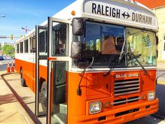 Spotted during daylight hours! The Bridge Bus is a fun addition to Durham's cab type services! The bus runs a #nightlife shuttle between #Durham and #Raleigh Thursdays Fridays and Saturdays so you can have #weekend style #fun without driving. There are four stops  and three trips. Get tickets in advance online. #staysafe #dontdrinkanddrive #durhamfreshdaily #DurhamNC by durhamnc
