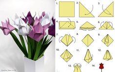 Art of origami. Diy Origami, Tulip Origami, Origami Flowers, Paper Flowers Diy, Origami Tutorial, Origami Paper, Flower Crafts, Diy Tutorial, Cute Crafts