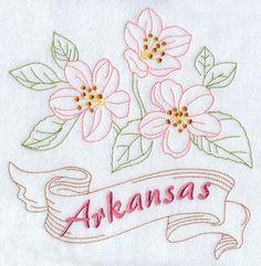 Arkansas - Apple Blossom (Redwork)