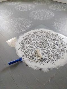 Learn how to stencil a wood floor using the Prosperity Mandala Stencil from Cutting Edge Stencils. http://www.cuttingedgestencils.com/prosperity-mandala-stencil-yoga-mandala-stencils-designs.html
