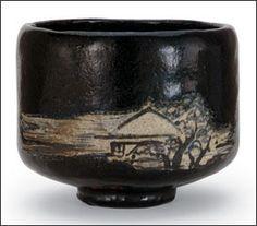Black Raku tea bowl with design of mountain retreat, transparent lead glaze by Ogata Ihachi (Kyoto Kenzan II)) active ca (1720-1760) Japan, Edo, period.