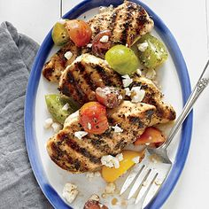 Grilled Lemon Chicken with Tomato Salad Recipe | MyRecipes