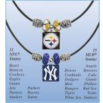 """Pittsburgh Steelers NFL Tile and Bead Necklace - Support your favorite team with these necklaces that feature full-color, ceramic-tile pendants of official team logos! Glass bead and metal accents. Please specify team. Gift boxed. Approx. 3/4"""" sq. pendant, 18"""" rubber cord."""