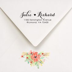 Items similar to Return Address Stamp, Custom Self Inking Stamp, Wedding invitations, Calligraphy Style Address Stamp, Julie and Richard Design on Etsy Custom Self Inking Stamps, Ampersand Sign, Custom Return Address Stamp, Ink Pads, Finding Yourself, Wedding Invitations, Calligraphy, Etsy, Style