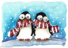 ACEO Original watercolor Folk Art Whimsical Winter scene penguins scarf red