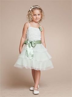A-line Organza Knee Length with Sash Flower Girl Dress FGD1109 www.dresseshouse.co.uk £44.0000