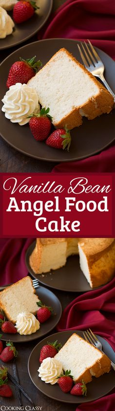 Vanilla Bean Angel Food Cake - this is one of the most heavenly cakes! My go to angel food cake recipe! Love that it's not dry and it's perfectly sweet. You can swap out the vanilla beans with different flavors if extract too.