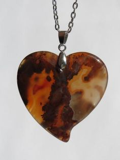 Heart Necklace - Brazilian Agate Carved Heart Pendant - Lacy Brown Burnt Orange - Unique Gift Under 20 - Ready to Ship N001
