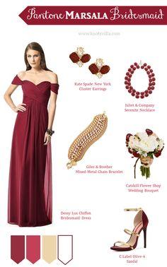 Pantone Marsala Bridesmaid Style » KnotsVilla -Repinned by Elegant Manatee Weddings Manatee County Florida #weddings