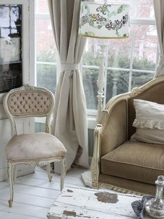 """Distressed white painted wood floors are a signature of the shabby chic or farmhouse styles. You really can't go wrong with layers of whites, creams"""""""