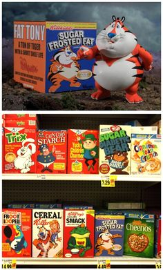 Fat Tony the Tiger Figure by Ron English - Earlier this year the king of guerrilla advertising, Mr. Ron English, planted a selection of modified cereal boxed on a shelf at an L.A. grocery store in an effort to illuminate passersby on the effects of the high sugar contents of cereal. The mascots for Trix, Captain Crunch, Lucky Charms and many more, including Tony the Tiger, were fattened up and accompanied by messages that would certainly deter most shoppers.    After much success with his…