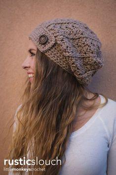 Rustic Slouch Crochet Hat Pattern   Free Slouchy Hat Crochet Pattern by Little Monkeys Crochet