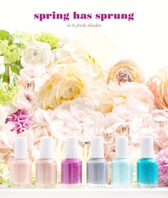 It's love at first bloom with essie's new spring 2015 collection.  Check out these six hot shades of the season, ranging from classic neutrals to bold blues and bright plum polish. These on-trend shades inspired by spring florals mark our first collaboration with fashion icon and essie Global Color Designer Rebecca Minkoff.
