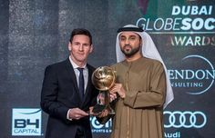 DiamondRummy Dubai Globe Soccer Awards 2015  -Best Player of the Year- Winner: Lionel Messi Awarded by: His Excellency Khalifa Sulaiman (Dubai Protocol and Hospitality General Director) globesoccer globesoccerawards dubaiisc LeonelMessi