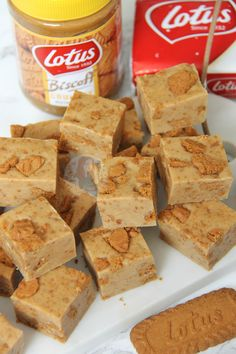 A Delicious and Super Easy to make Fudge Recipe absolutely brimming with the delicious Lotus Biscoff flavour – Heavenly Biscoff Fudge! Biscoff Cookie Butter, Biscoff Cookies, Peanut Butter Fudge, Biscoff Biscuits, Chocolate Cookies, Oreo Cookies, Anzac Biscuits, Fudge With Condensed Milk, Condensed Milk Recipes